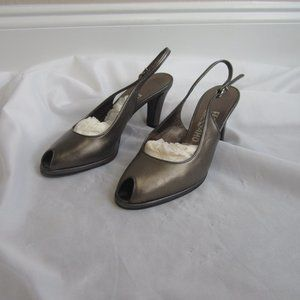 Salvatore Ferragamo 8 B Pewter Bronze Sling Shoes